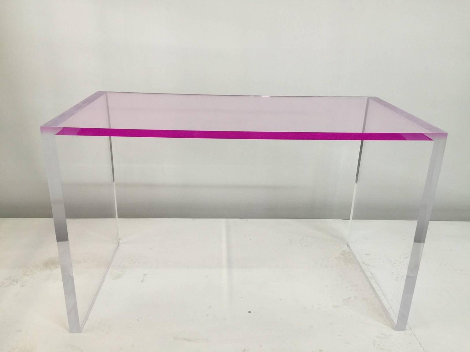 Whimsical pink and clear acrylic desk and bench for sale for Perspex desk