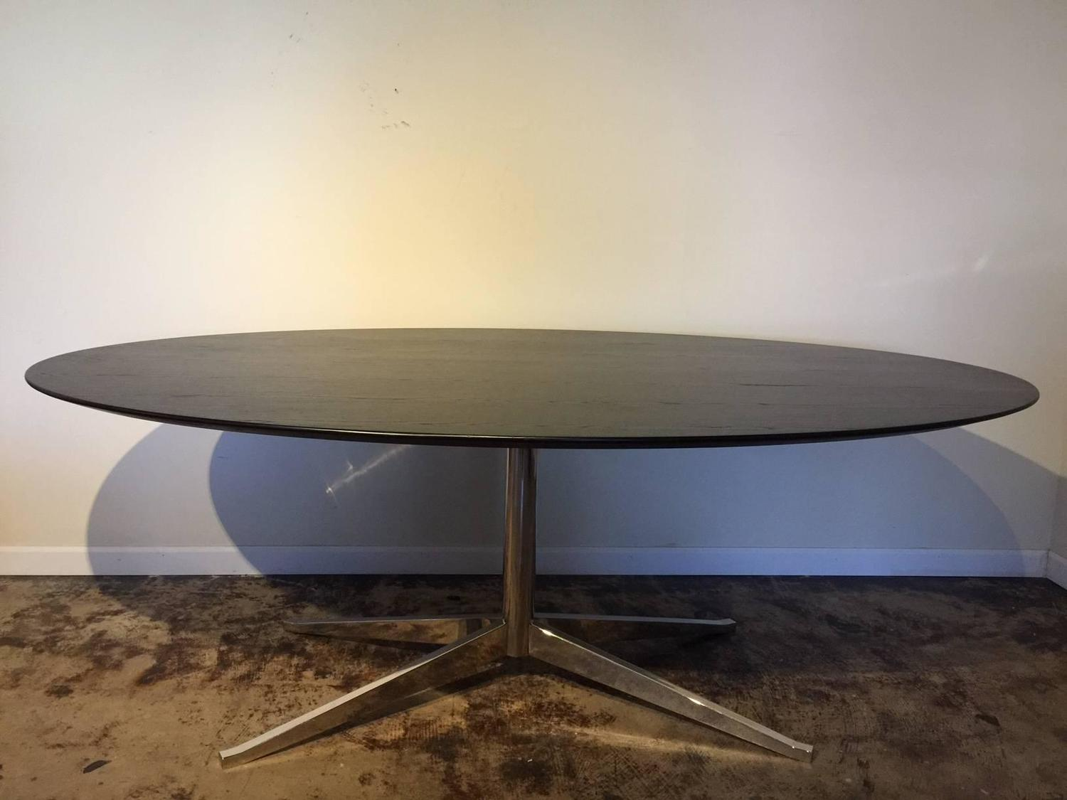 Florence Knoll Stained Walnut Elliptical Dining Table For