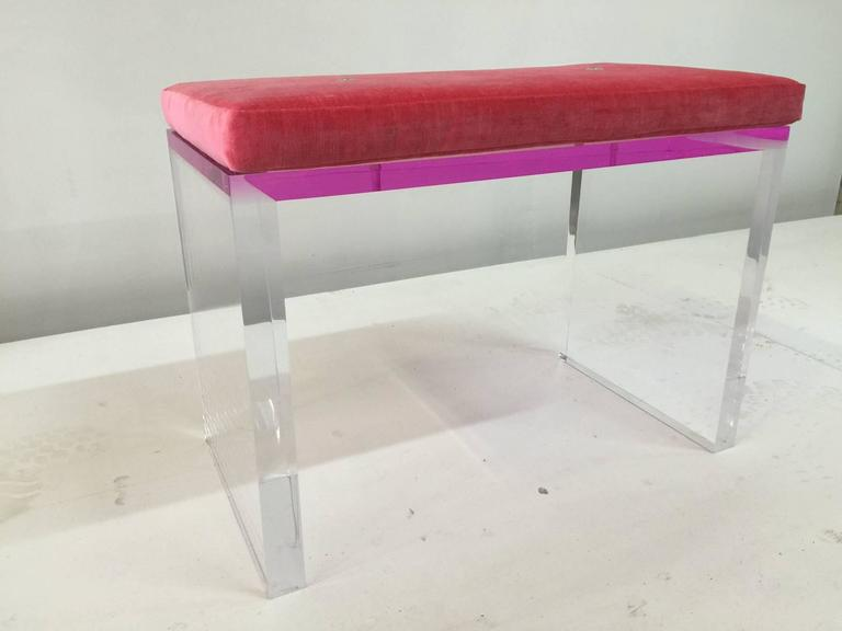 whimsical pink and clear acrylic desk and bench 3 - Acrylic Bench