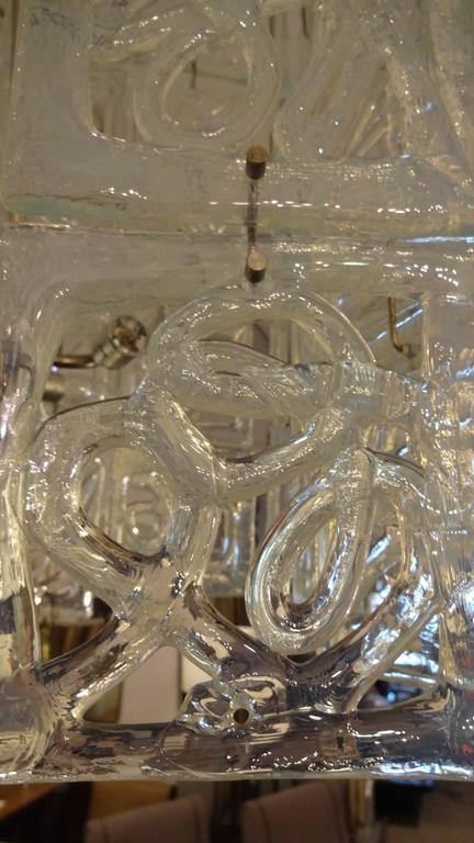 Carlo Nason Large-Scale Rectangular Glass Chandelier Italy circa 1960 4