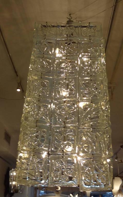 Carlo Nason Large-Scale Rectangular Glass Chandelier Italy circa 1960 7