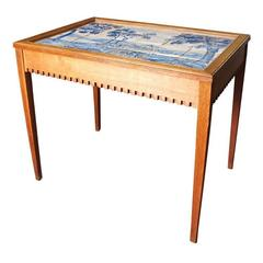 Danish Tea Table with Inset Blue and White Tile Top