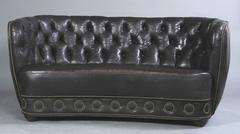 Danish 1930s-1940s Banana Form Leather Upholstered Loveseat