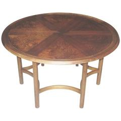 Danish Modern Circular Coffee or Low Table with Beautifully Figured Rosewood Top