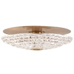 Ceiling Fixture of Pressed Glass and Brass by Orrefors