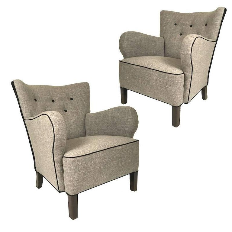 Pair of Danish Upholstered 1940s Armchairs