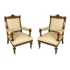 Pair of Danish 19th Century Large-Scale Aesthetic Movement Armchairs