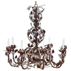 Large-Scale French Tole Chandelier with Vinework