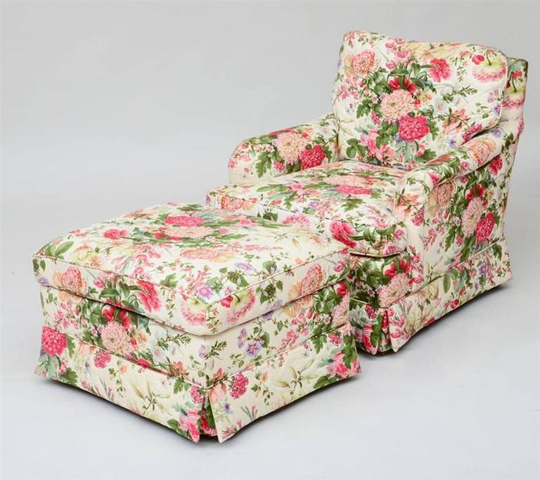 Pair of Chintz Upholstered Armchairs with Ottomans at 1stdibs