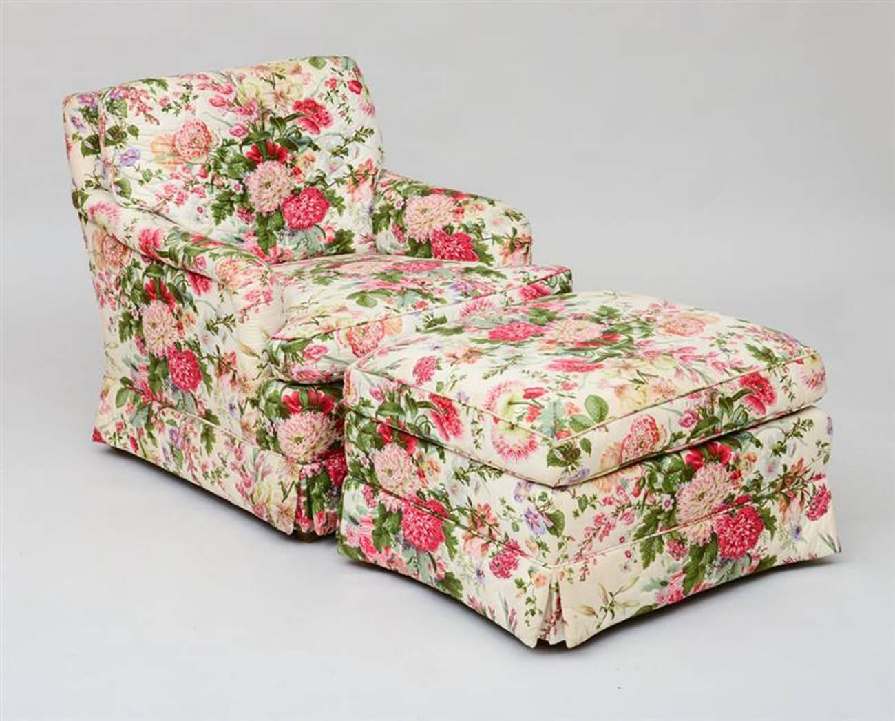 Pair of chintz upholstered armchairs with ottomans at 1stdibs for Chintz couch