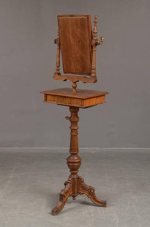 19th Century Danish Walnut Candle Stand with Mirror In Good Condition For Sale In Hudson, NY