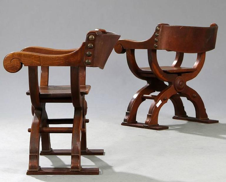 Bon Pair Of Danish Savonarola Style And U0027Game Of Thronesu0027 Type Chairs