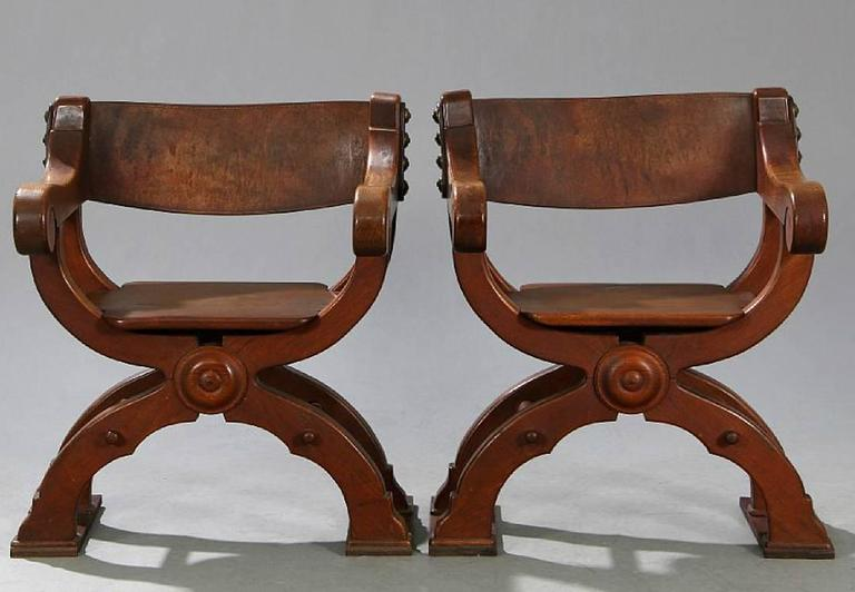 A Nice Pair Of Oak Frame Savonarola Style Chairs With Leather Backrests Danish Late