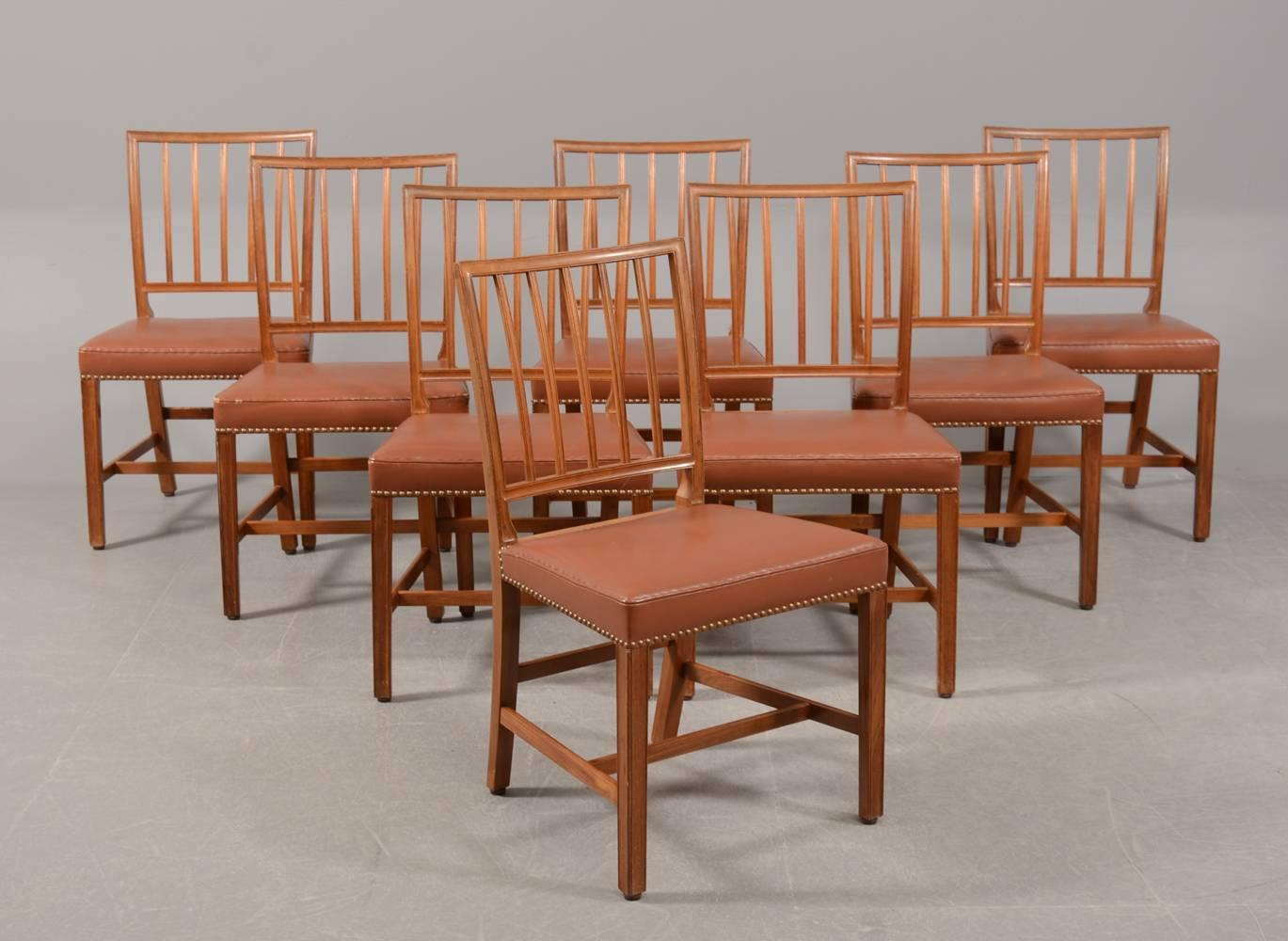 eight mahogany dining chairs attributed to danish designer jacob kjaer