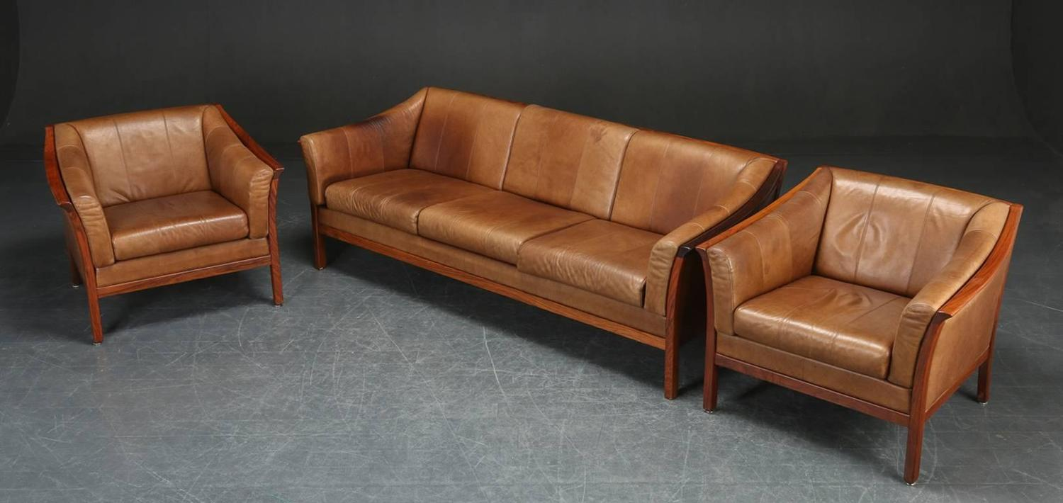 good quality set of danish rosewood and leather living