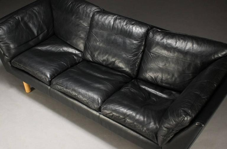 Danish 1970s Early 1980s Black Leather Sofa By Henning