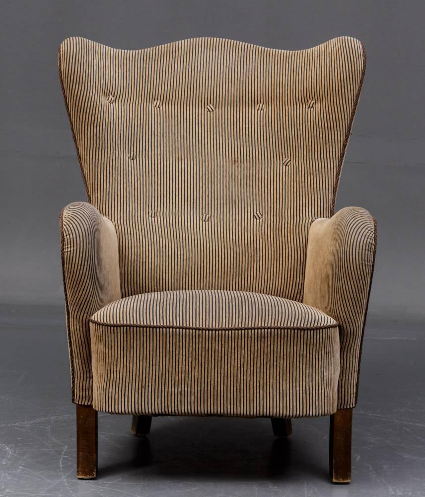 Stripe Armchair: Danish Modern Wingback Armchair For Sale At 1stdibs