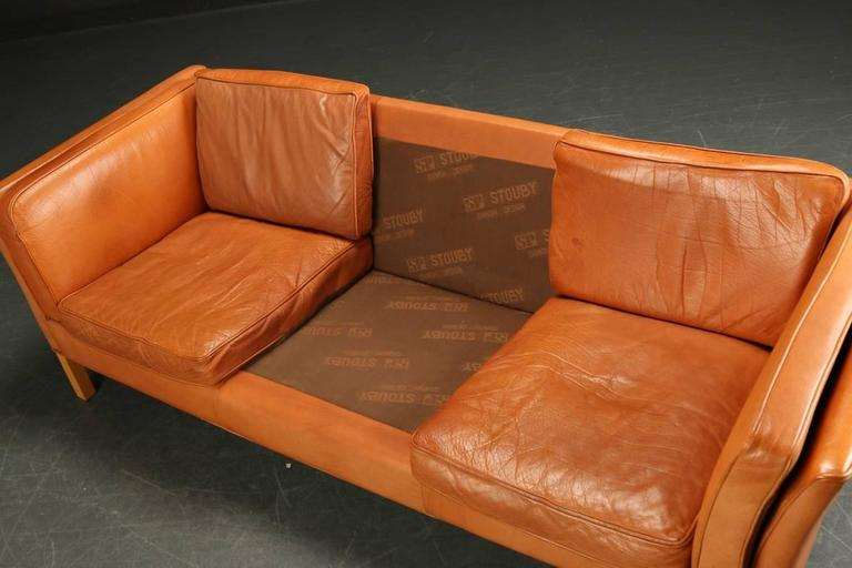 Danish 1960s-1970s Leather Sofa Upholstered Sofa 2