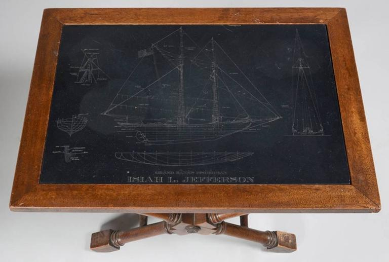 Table with Inset Slate Top Engraved with Blue Prints of a Clipper Ship 2