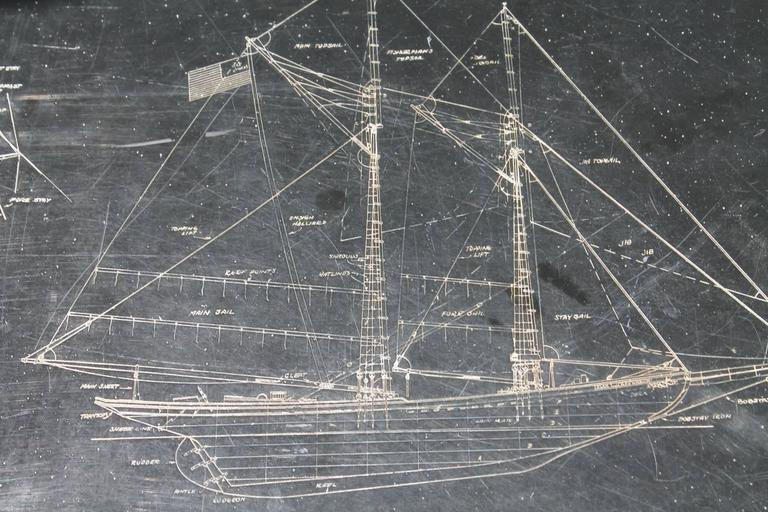 Table with Inset Slate Top Engraved with Blue Prints of a Clipper Ship 3