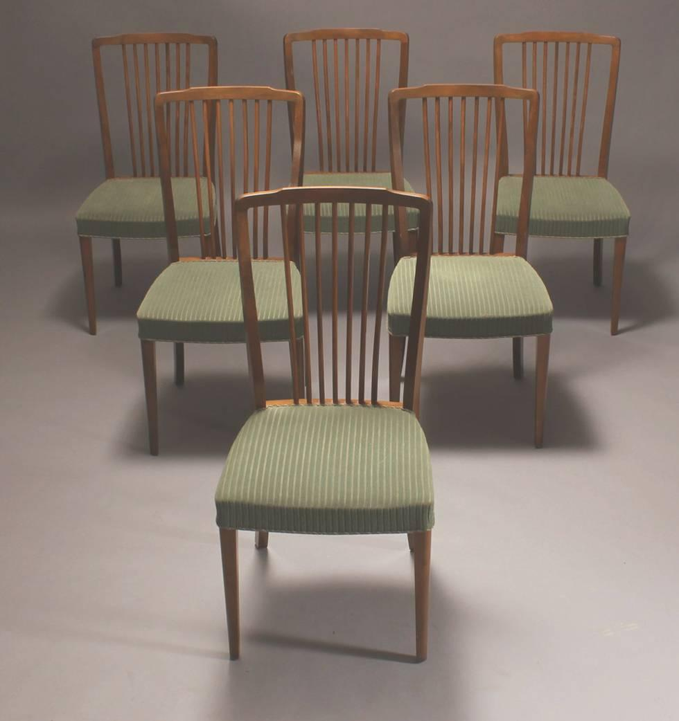 set of six danish modern spindle back dining chairs for