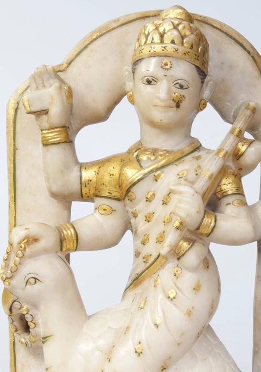 Anglo Raj Indian Early Alabaster Sculpture of Indian Deity with Bird For Sale