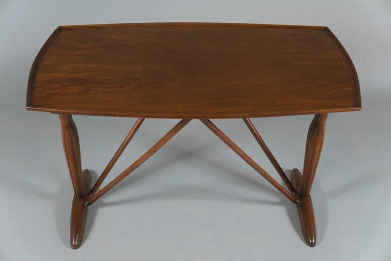 Art Deco Danish 1930s-1940s Side Table with Female Figurative End Supports For Sale