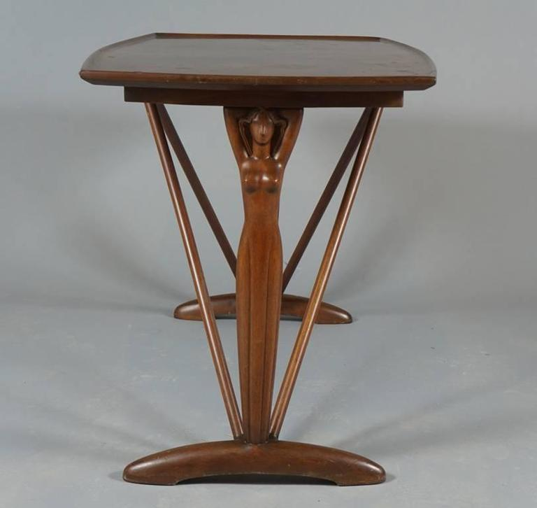 Danish 1930s-1940s Side Table with Female Figurative End Supports In Good Condition For Sale In Hudson, NY