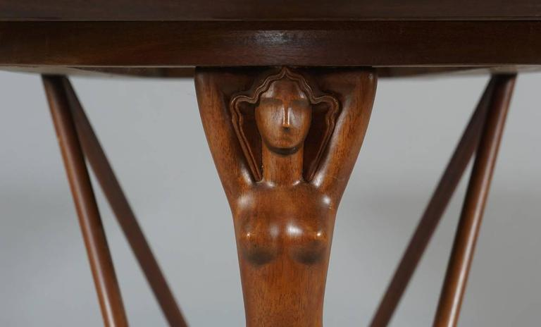 Mid-20th Century Danish 1930s-1940s Side Table with Female Figurative End Supports For Sale