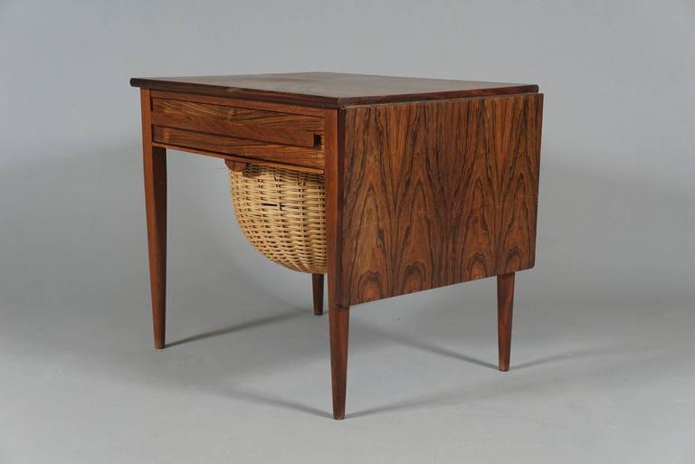 Danish Modern Drop-Leaf Sewing Table 6
