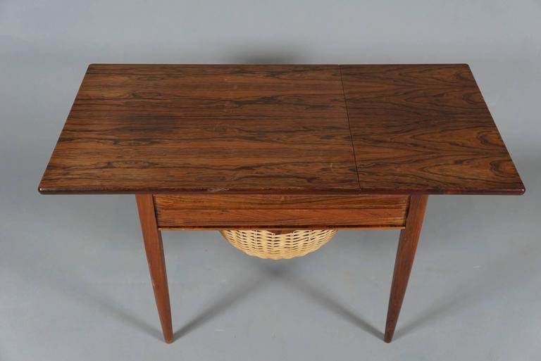 Danish Modern Drop-Leaf Sewing Table 8