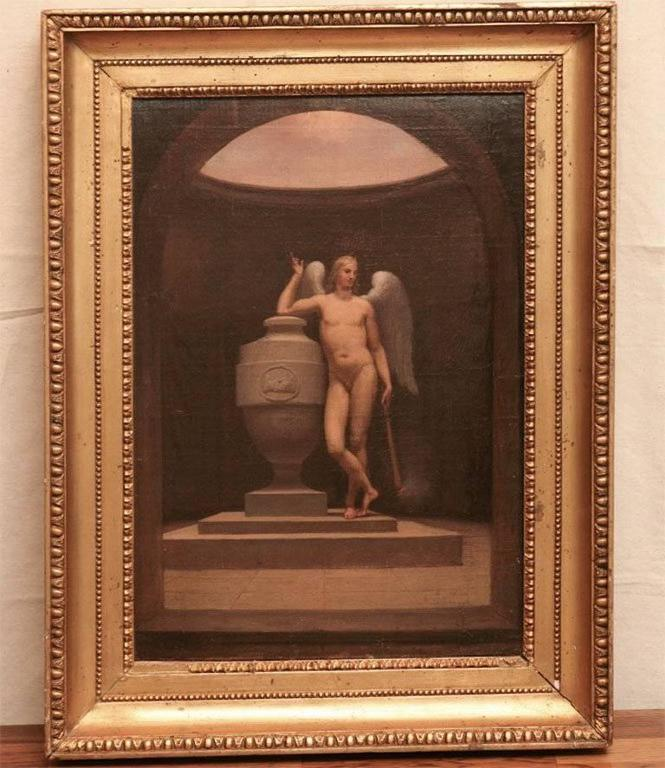 Danish Neoclassical Academic Painting of an Angel and Urn For Sale 1