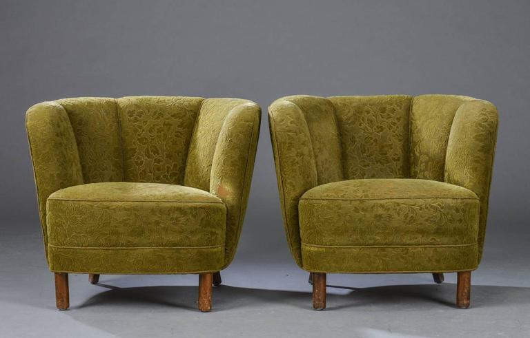 Pair of Danish modern club chairs with channelled backs, 1940s era,