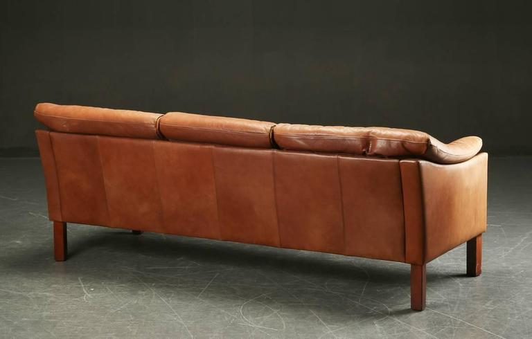 Mid-20th Century Danish Modern Leather Upholstered Sofa For Sale