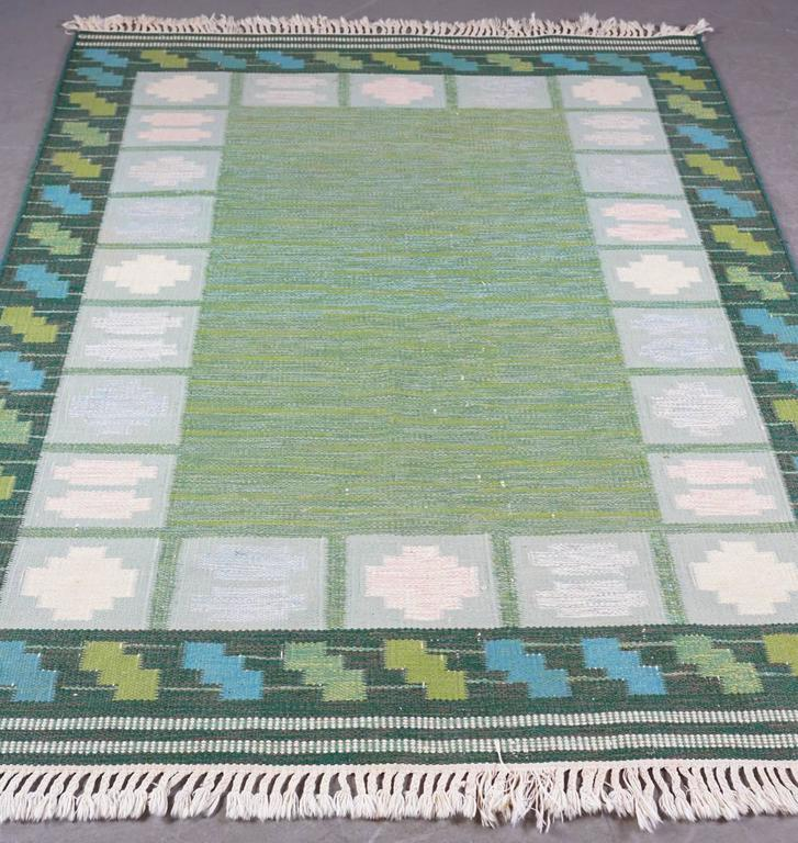 Swedish Rölakan 'Flat-Woven' Rug Signed AJA 2