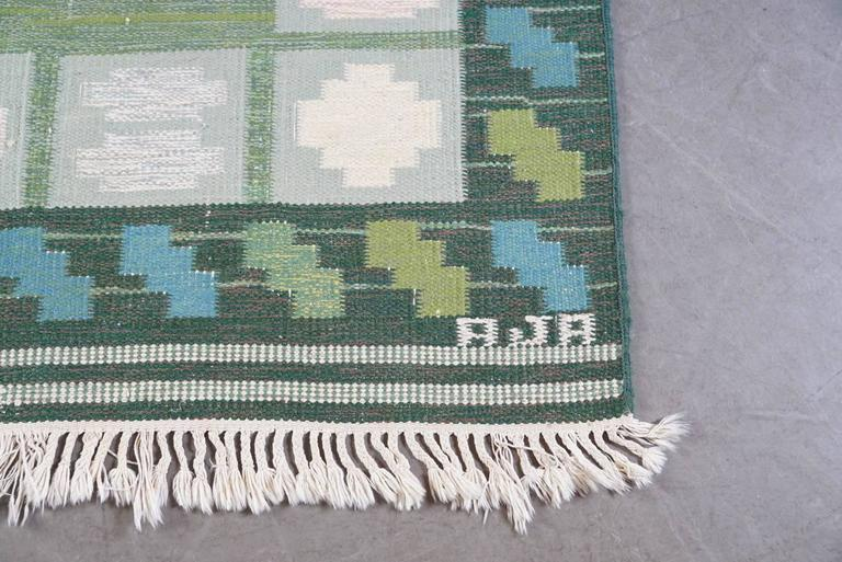 Swedish Rölakan 'Flat-Woven' Rug Signed AJA 3