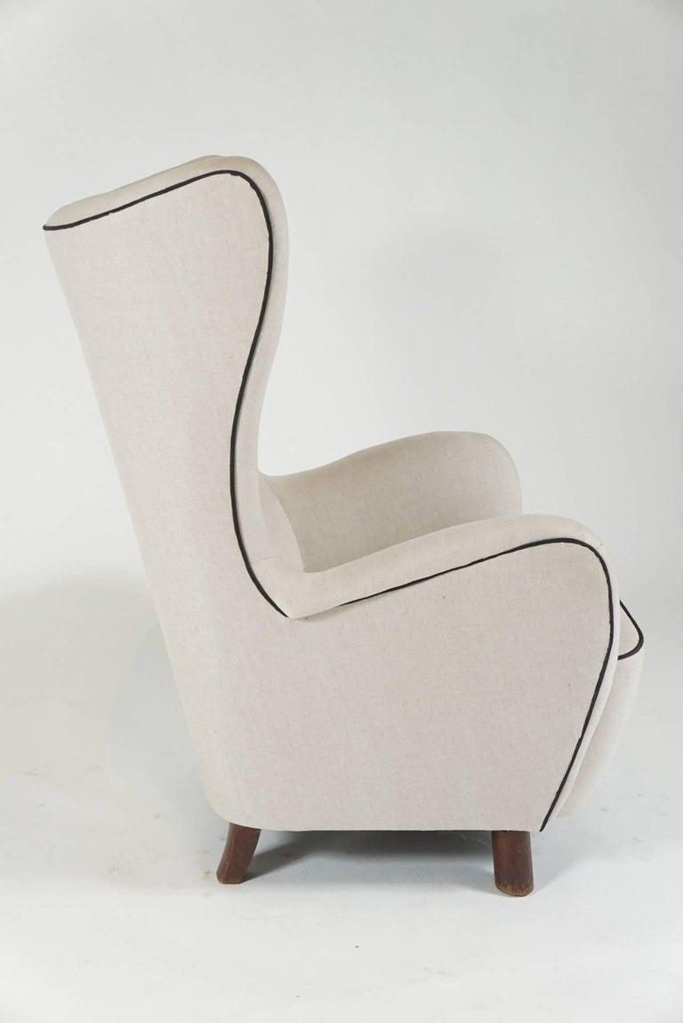 Scandinavian Modern Mogens Lassen Wingback Lounge Chair For Sale