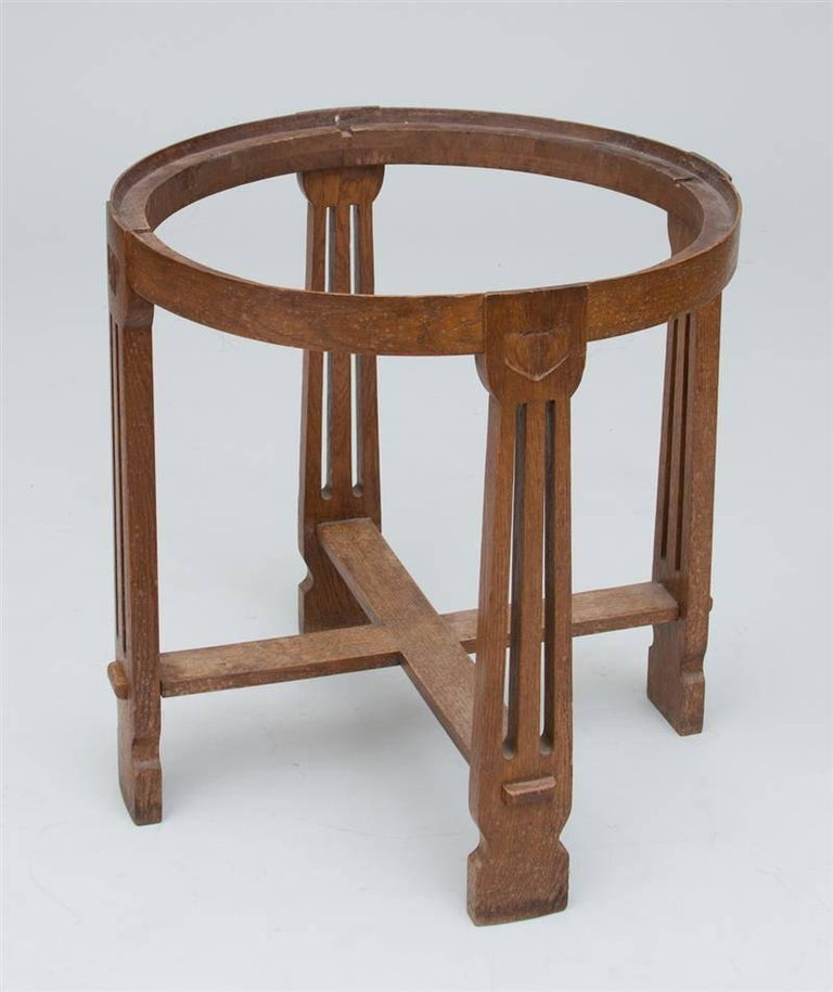 Danish Arts & Crafts Carved Oak Table with Ceramic Top by Kähler For Sale