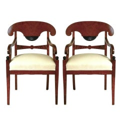 Pair of Swedish Biedermeier Style Flame Mahogany and Ebonized Armchairs