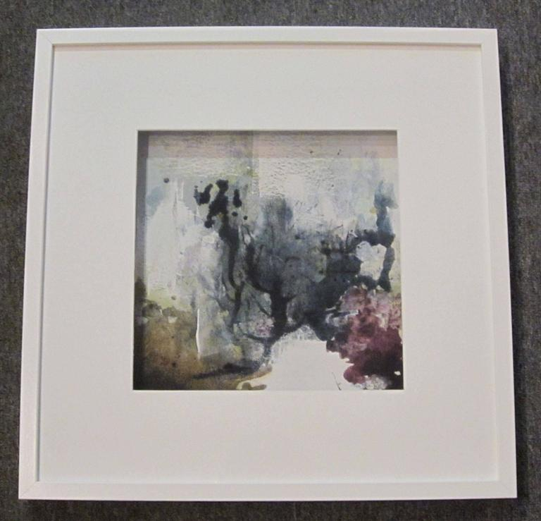 Contemporary vegetable pigment painting by Belgian artist Isabelle Rousseau. Grey, purple. The ink watercolors used by the artist emerge from tinctorial plants picked and transformed by the artist. Tinctorial means the plants contain coloring