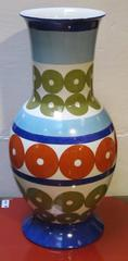 Bright Patterned Blue/White/Olive/Red Porcelain Vase by Frederic De Luca