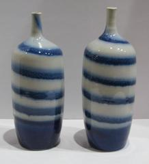 Contemporary Blue and White Striped Porcelain Tall Vases, China