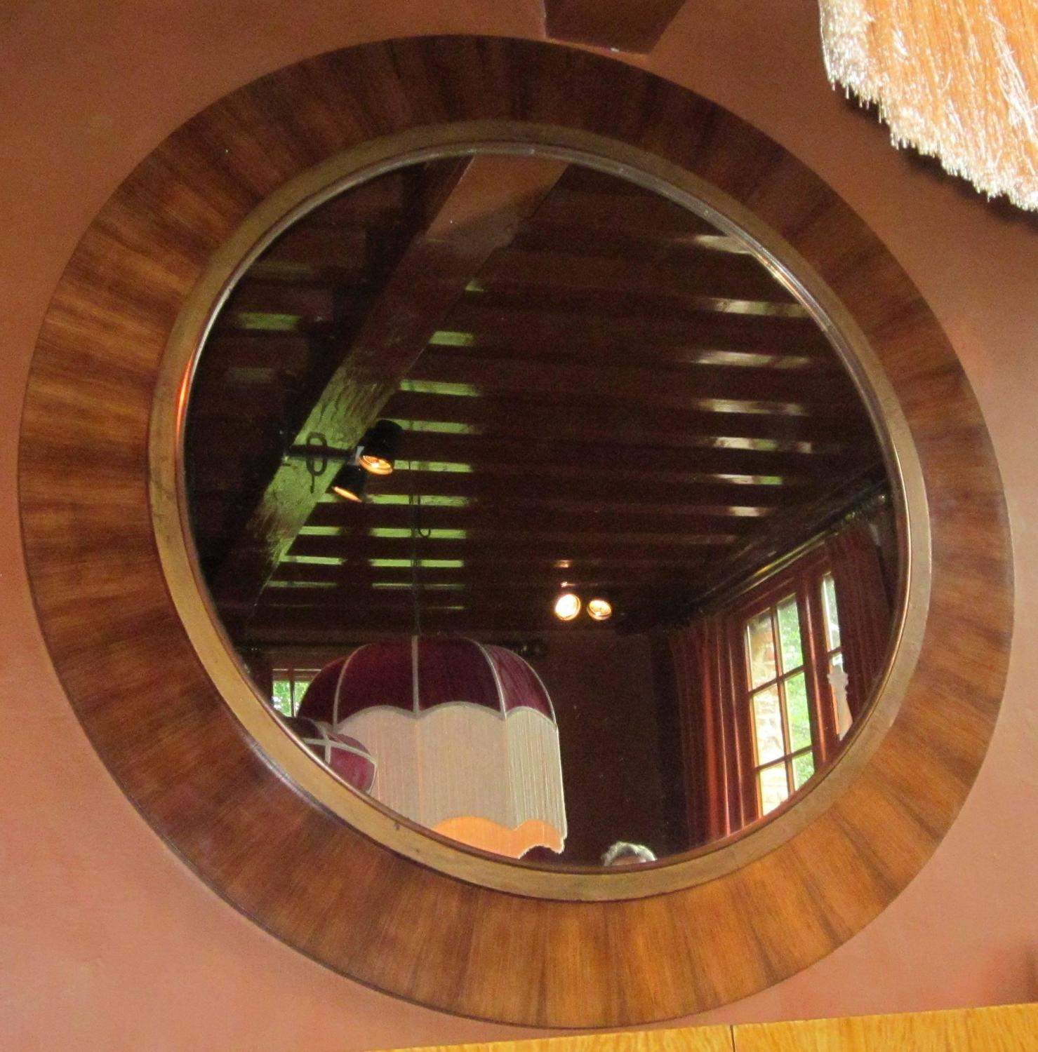 Mid century extra large round rosewood border mirror for Large round mirrors for sale