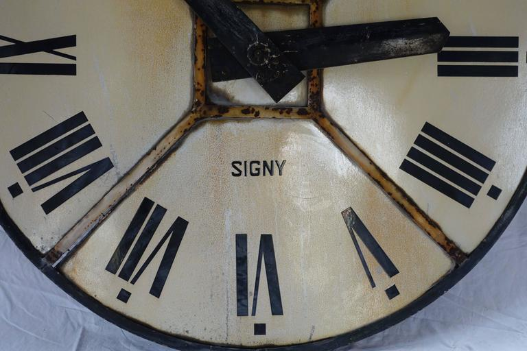 French Iron Clock Face, France, circa 1940 For Sale