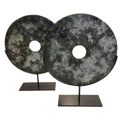Pair Green and White Textured Disc Sculptures, Contemporary, China