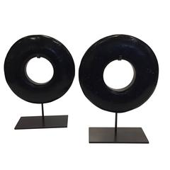 Pair of Black Thick Ring Sculptures, Contemporary, China