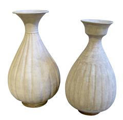 Cream Colored Fluted Vases, Thailand, 19th Century