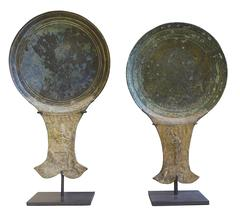 15th Century Pair Bronze Mirror Backs, Cambodia