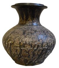 18th Century Weathered Black Vase, Cambodia