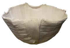 White Corrugated Porcelain Bowl, Italy, Contemporary